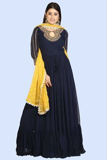 Picture of Navy Blue Dazzling  Floor Length Anarkali Suit
