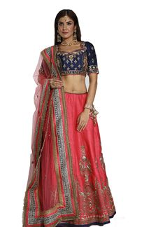 Picture of Navy Blue & Dark Peach Color Designer lehenga Choli