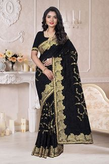 Picture of Regal Look Black Colored Designer Saree