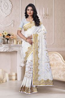 Picture of Designer Regal White Colored Saree