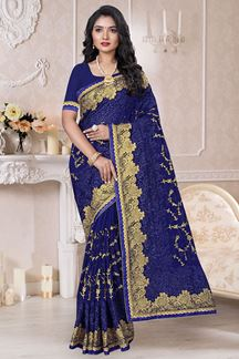 Picture of Look Regal in designer Navy blue Colored Saree