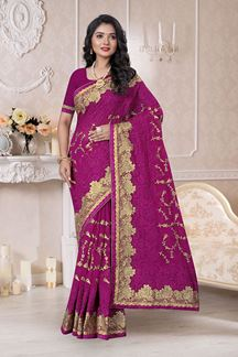 Picture of Designer Royal Purple Colored Saree