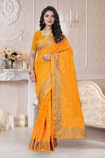 Picture of Classy Designer Organza Yellow Colored Saree