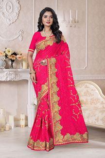 Picture of Regal Pink Colored Designer Saree