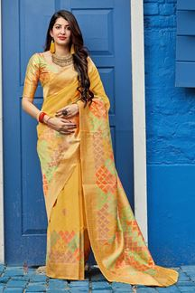 Picture of Yellow Colored Designer Festive Wear Silk Saree