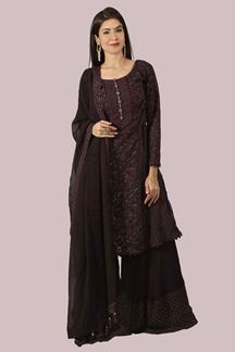 Picture of Sober Wine Colored Georgette Palazzo Suit