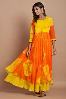 Picture of Orange & Yellow Colored Nazneen Chiffon & Cotton Tie Dye Kurti