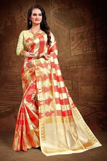 Picture of Jacquard Art Silk Red & Beige Colored Saree