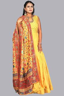 Picture of Yellow Color Anarkali Suit With Dupatta