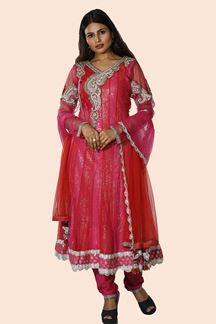Picture of Pink & Red Party Wear Anarkali Suit