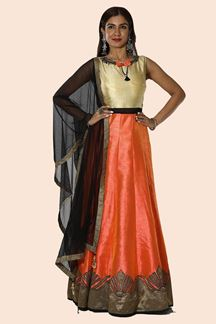 Picture of Prominent Orange & Beige Colored Designer Party Wear Anarkali Suit