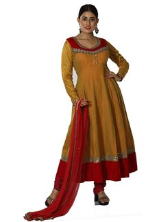 Picture of Glowing Mustard  Colored Partywear Art Silk Anarkali Suit