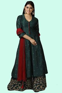 Picture of Bottle Green Raw Silk Palazzo Suit