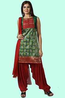 Picture of Green & Red Color Designer Patiala Suit