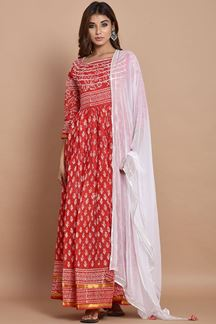 Picture of Red Colored Hand Block Printed Cotton Kurti