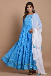 Picture of Blue Colored Hand Block Printed Cotton Kurti