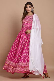 Picture of Pink Colored Hand Block Printed Cotton Kurti