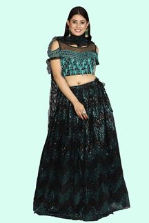 Picture of Designer Black & Blue Party-wear Lehenga choli
