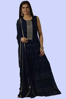 Picture of Royal Blue Anarkali Georgette floor length Suit