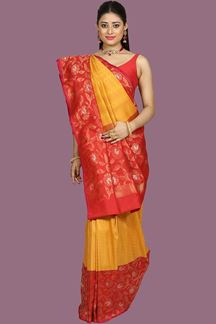 Picture of Glorious Mustard & Rani Colored Bangalore Silk Saree