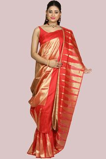 Picture of Adorable Red Colored Festive Wear Banarasi Silk Saree