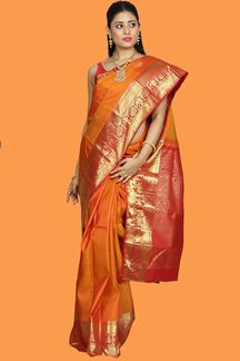 Picture of Eye-Catching Rust-Red Colored Kanjivaram Silk Saree