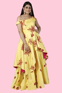 Picture of Attractive Partywear Lemon Yellow Designer Gown