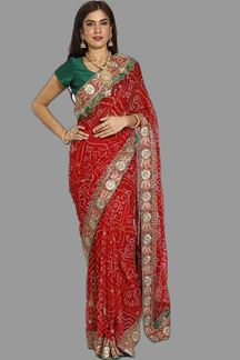 Picture of Trendy Red Colored Party Wear Bandhani Georgette Saree