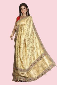 Picture of Energetic Golden Colored Festive Wear Banarasi Silk Saree