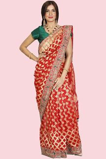 Picture of Glowing Red Colored Festive Wear Woven Banarasi Georgette Saree
