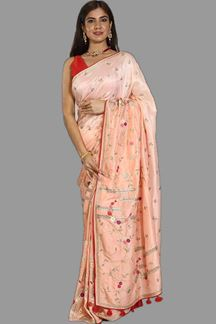 Picture of Energetic Peach Colored Dola Silk Saree