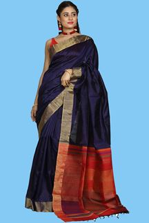 Picture of Capricious Navy Blue With Maroon Colored Bangalore Silk Saree