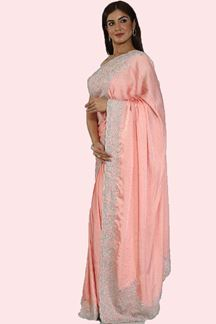 Picture of Satin Silk Peach Color Embroidered Saree With Blouse