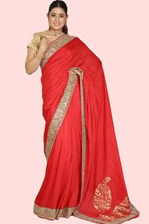 Picture of Hypnotic Red Colored Festive Wear Dola Silk Saree