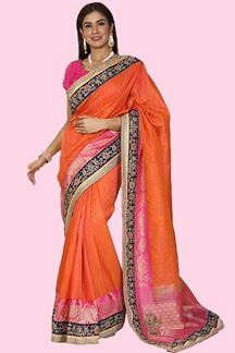 Picture of Trendy Pink-Orange Colored Festive Wear Woven Banarasi Silk Saree