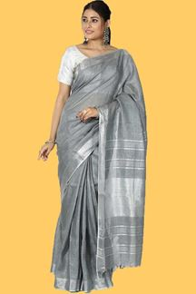 Picture of Blissful Grey Colored Festive Wear Linen Saree