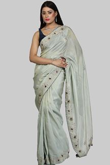 Picture of Glowing Sea Green Colored Partywear Shimmer Silk Saree
