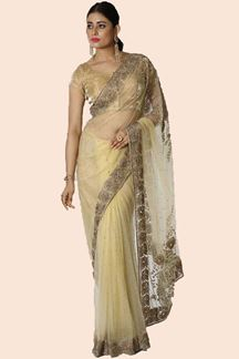 Picture of Golden Colored Party Wear Net Saree