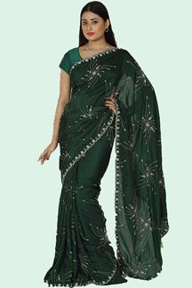 Picture of Imposing Bottle Green Colored Dolla Silk Saree