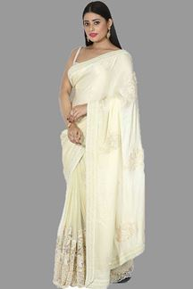 Picture of Innovative Lemon Yellow Colored Satin & Net Saree