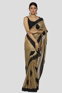 Picture of Demanding Golden Colored Shimmer Georgette Saree