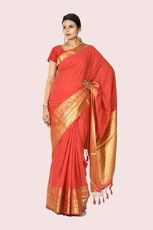 Picture of Rust Color Stylish Silk Saree