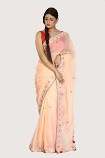 Picture of Radiant Peach Colored Organza Saree