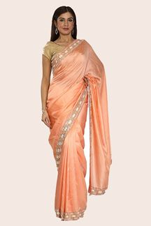 Picture of Capricious Peach Colored Party Wear Dolla Silk Saree