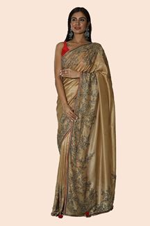 Picture of Gorgeous Golden Colored Dolla Silk Saree