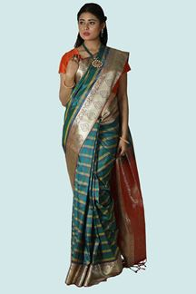 Picture of Innovative Green & Orange Colored Banarasi Silk Saree