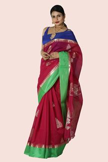 Picture of Attractive Rani Pink- Blue Colored Gadwal Silk Saree