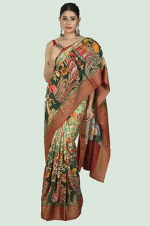 Picture of Shaded  Bottle Green Colored  Printed Art Silk Saree