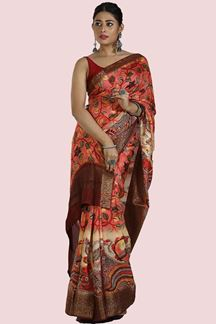 Picture of Shaded Peach Colored  Printed Art Silk Saree