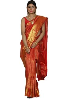 Picture of Innovative Red Colored Kanjivaram Brocade Saree